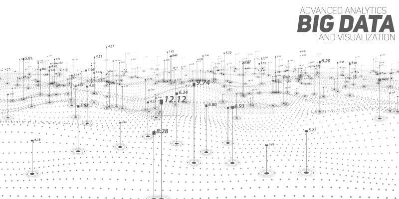 Visualização grande do lote do grayscale dos dados Infographic futurista Projeto estético da informação Complexidade de dados vis ilustração stock