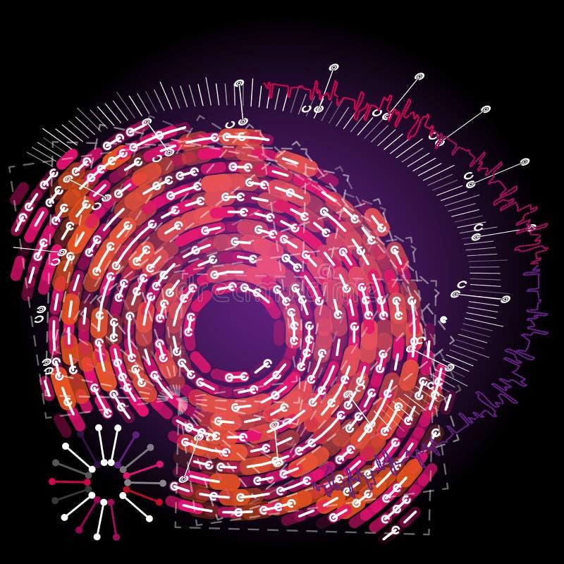 Visualização grande do radial dos dados Infographic futurista ilustração stock