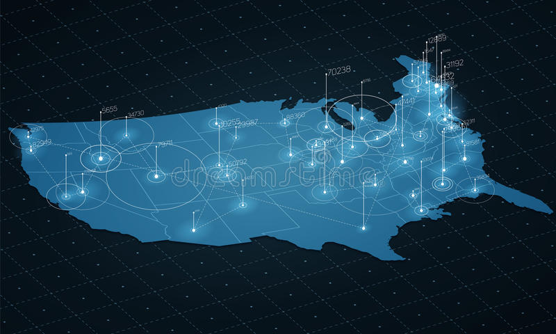 Visualização grande dos dados do mapa dos EUA Mapa futurista infographic Estética da informação Complexidade de dados visual ilustração do vetor