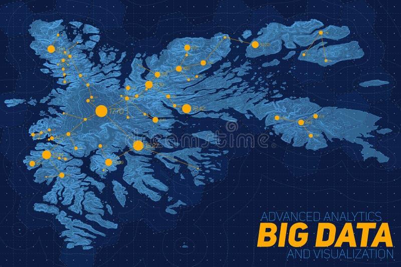 Visualização grande dos dados do terreno Mapa futurista infographic Visualização topográfico complexo do gráfico dos dados ilustração stock