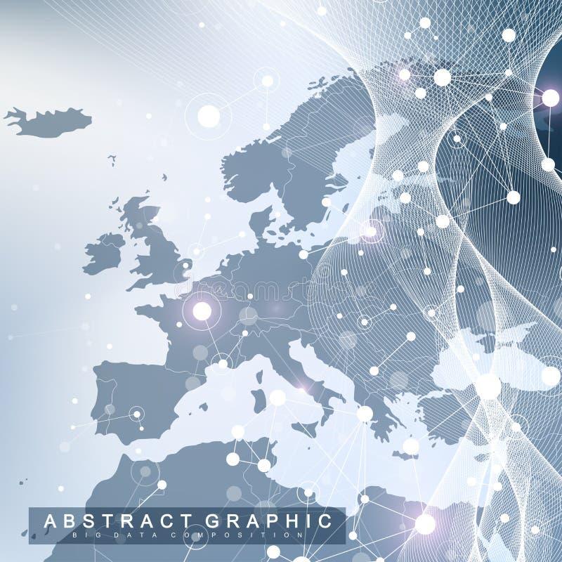 Visualização grande dos dados E Conceito social da conexão de rede ilustração do vetor
