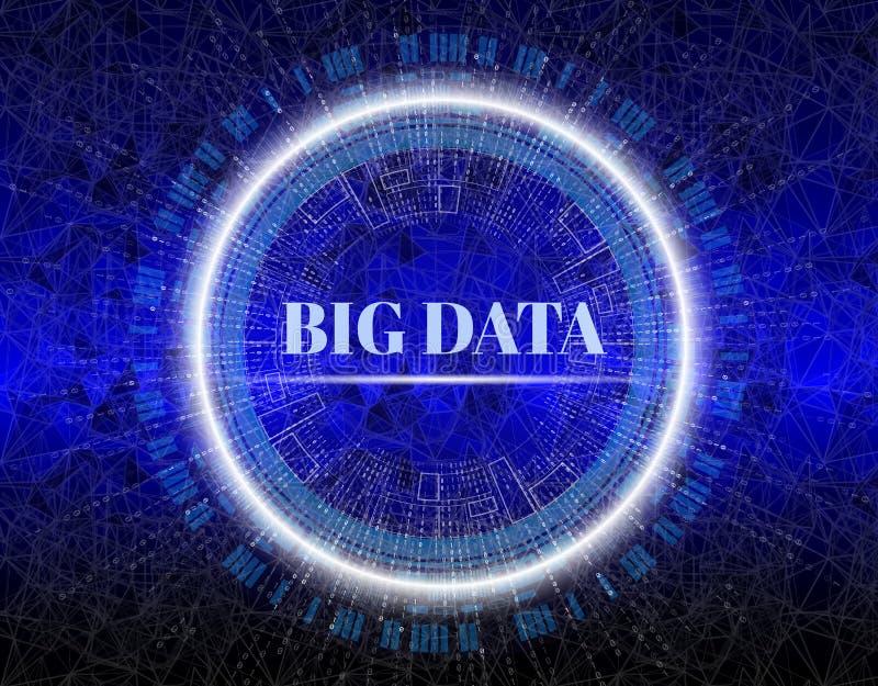 Visualização grande dos dados Elemento do Fractal com linhas e disposição dos pontos Complexo grande da conexão de dados Visual d ilustração royalty free