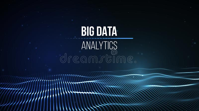 Visualização grande dos dados Fundo 3D Fundo grande da conexão de dados Rede do fio da tecnologia do Ai da tecnologia do Cyber fu ilustração do vetor