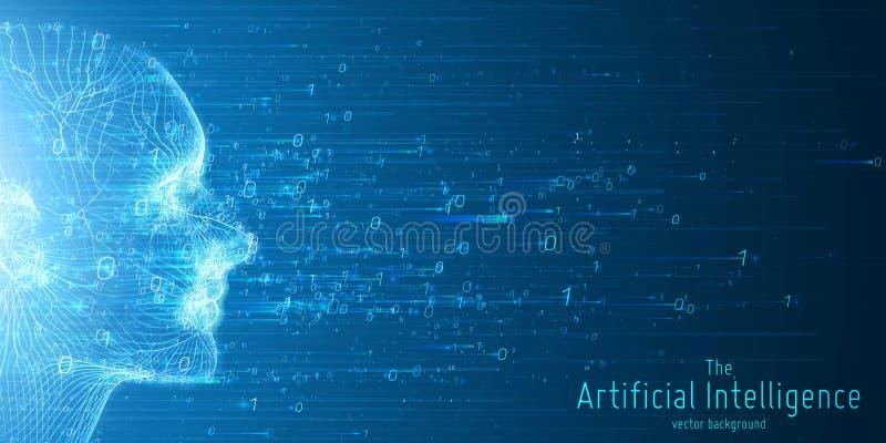 Visualização grande humano dos dados Conceito futurista da inteligência artificial Projeto estético da mente do Cyber Aprendizage