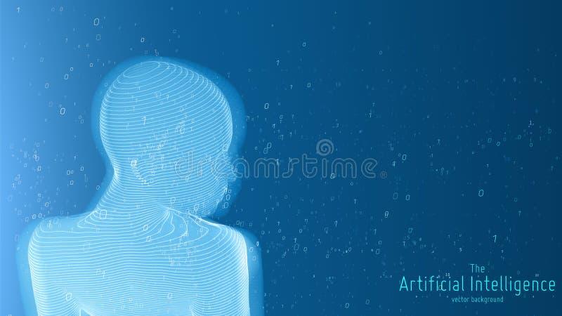 Visualização grande humano dos dados Conceito futurista da inteligência artificial Projeto estético da mente do Cyber Aprendizage ilustração do vetor