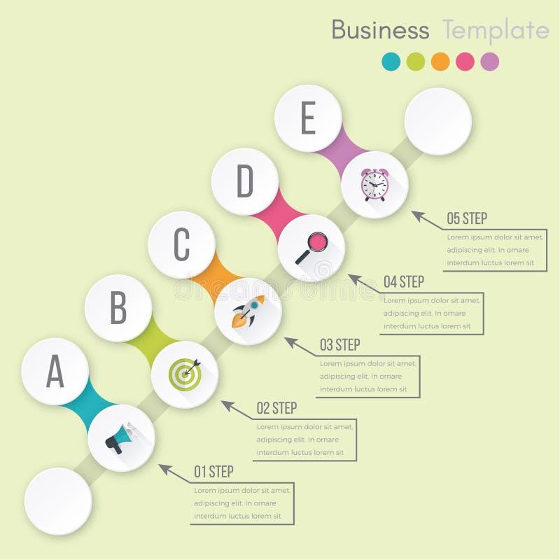 Visualiza??o dos dados comerciais Carta de processo Elementos abstratos do gr?fico, do diagrama com etapas, das op??es, das pe?as ilustração royalty free