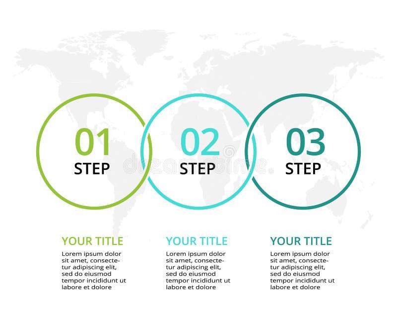Visualiza??o dos dados comerciais Carta de processo Elementos do gráfico, do diagrama com 3 etapas, das opções, das peças ou dos  ilustração stock