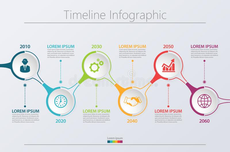 Visualiza??o dos dados comerciais ?cones infographic do espa?o temporal projetados para o molde abstrato do fundo ilustração do vetor