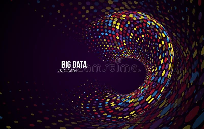 Visualiza??o grande dos dados Fundo abstrato com disposição dos pontos e código binário ilustração stock