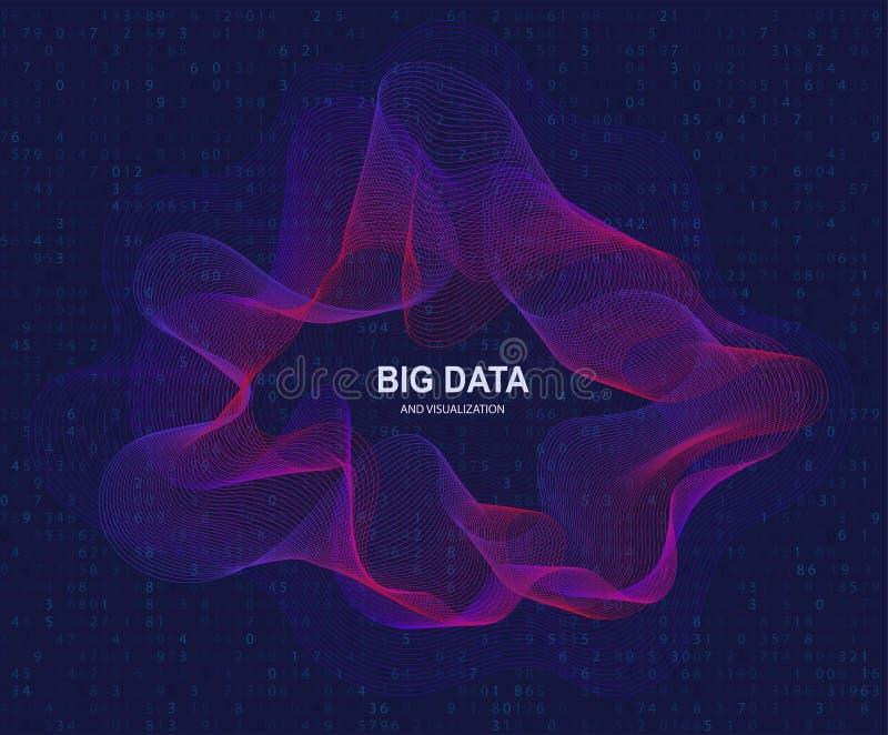 Visualización circular de los datos grandes, inteligencia artificial Transmisión del concepto y de datos de flujo ilustración del vector