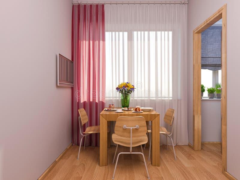 visualización 3D de la cocina del diseño interior en un apartamento-estudio stock de ilustración