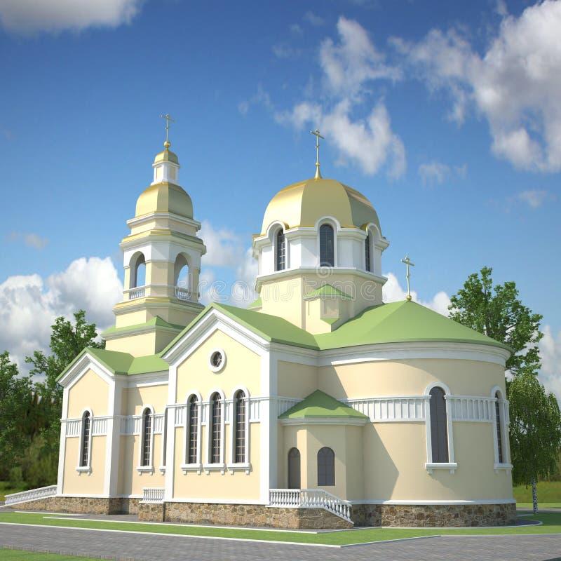 visualización 3D de la iglesia foto de archivo