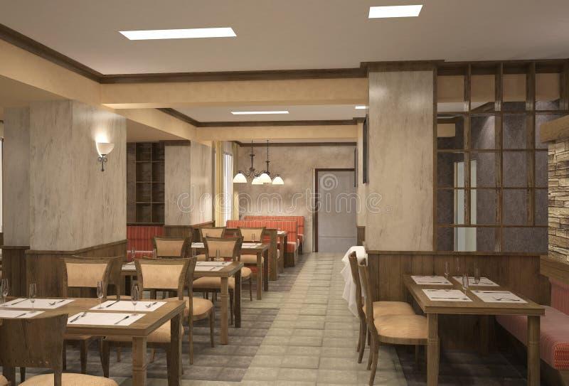 Visualizaci N 3d De Un Dise O Interior Del Restaurante