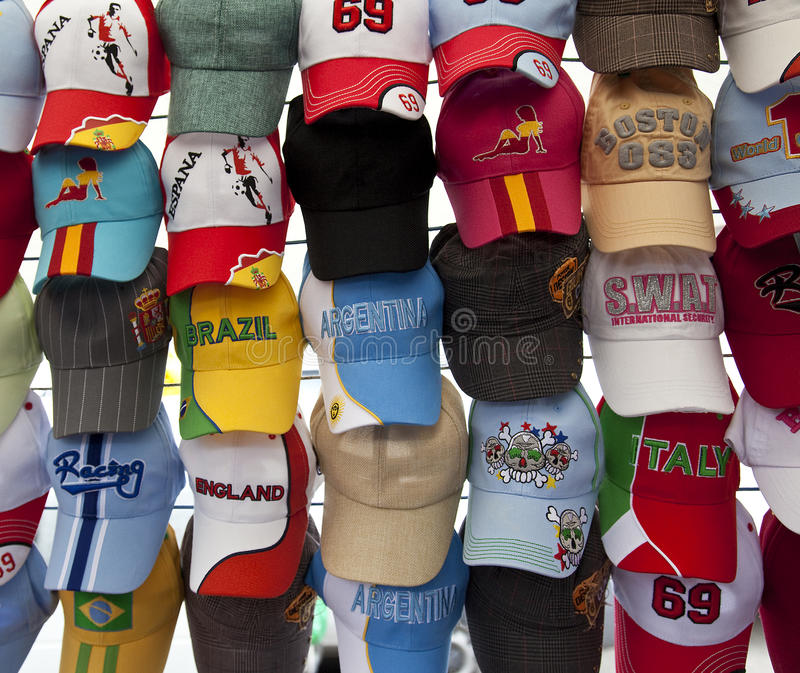 Visualización de gorras de béisbol imagen de archivo libre de regalías