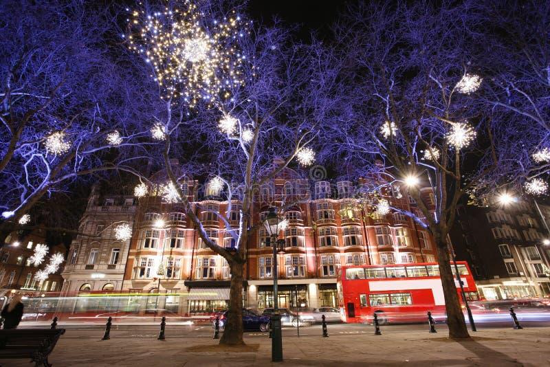 Visualización de las luces de la Navidad en Londres fotografía de archivo libre de regalías