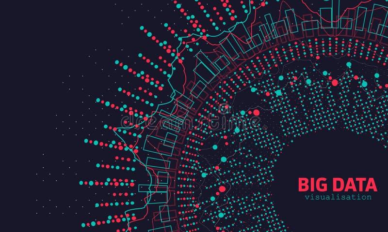 Visualización grande abstracta de los datos 3D Diseño futurista del infographics stock de ilustración