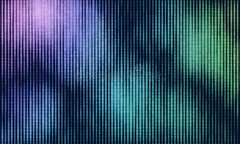 Visualización grande abstracta de los datos del vector Flujo de datos colorido como secuencias de los números binarios Representa libre illustration