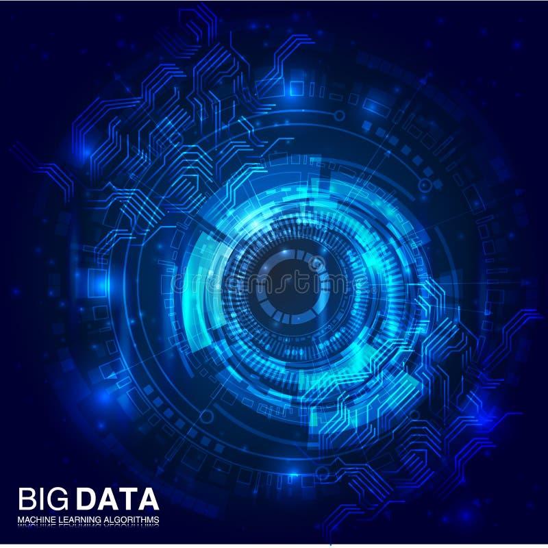 Visualización grande de los datos Infographic futurista Diseño estético de la información stock de ilustración