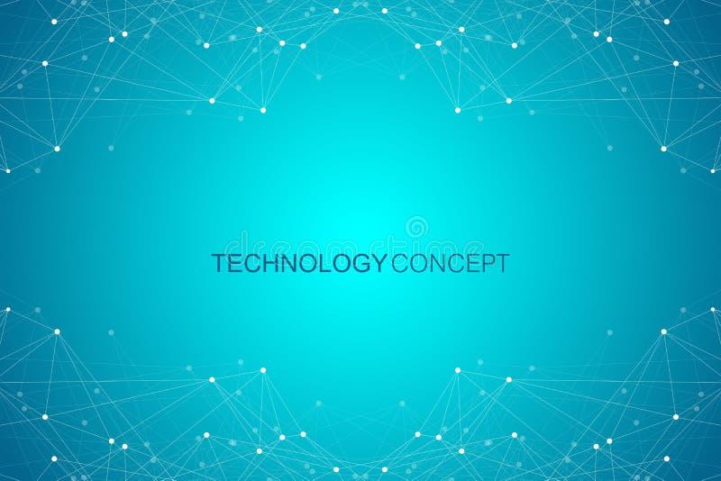 Visualización grande de los datos de la tecnología abstracta Diseño infographic del fondo del espacio futurista Ilustración del v ilustración del vector