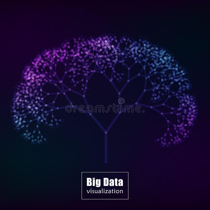 Visualización grande de los datos vector del árbol que brilla intensamente libre illustration