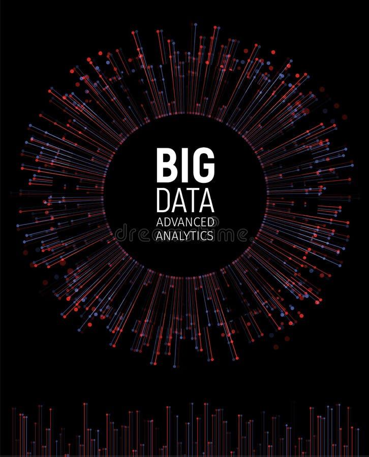 Visualización grande del vector del extracto de los datos Líneas y arsenal de los puntos Complejo grande de la conexión de datos  ilustración del vector