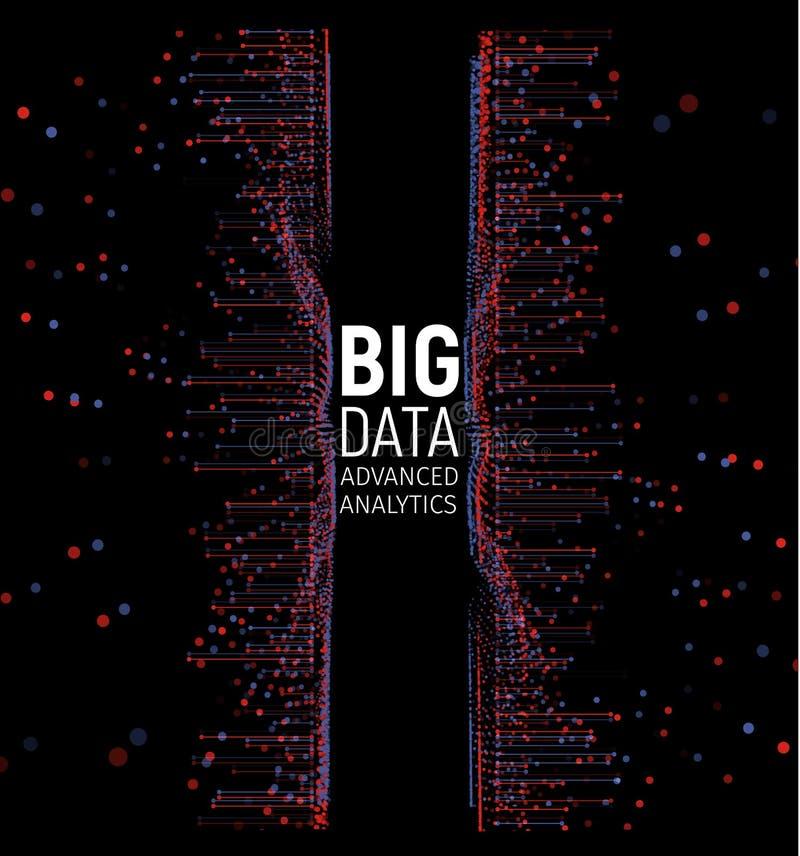 Visualización grande del vector del extracto de los datos Líneas y arsenal de los puntos Complejo grande de la conexión de datos  stock de ilustración