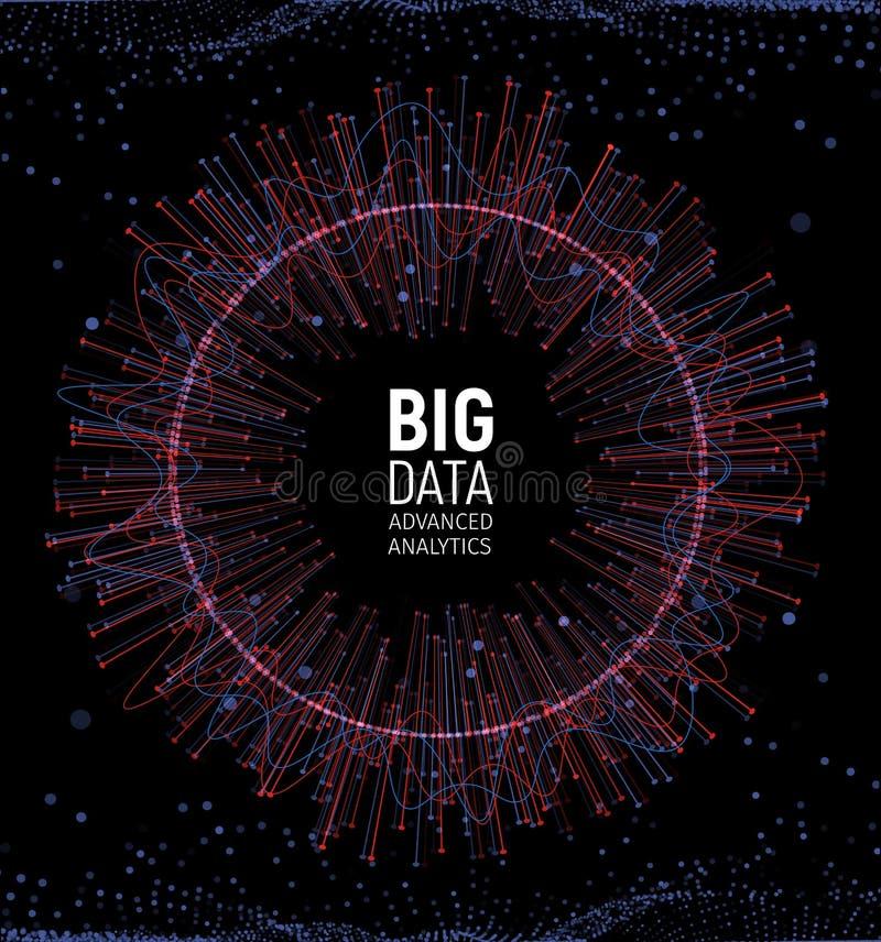 Visualización grande del vector del extracto de los datos Líneas y arsenal de los puntos Complejo grande de la conexión de datos  libre illustration