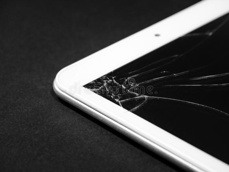 Visualización quebrada Tableta de cristal agrietada, dispositivo fotos de archivo