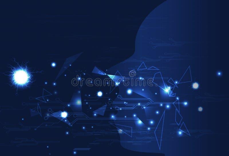 Visualización, triángulos y diseño de circuito humanos AR futurista ilustración del vector