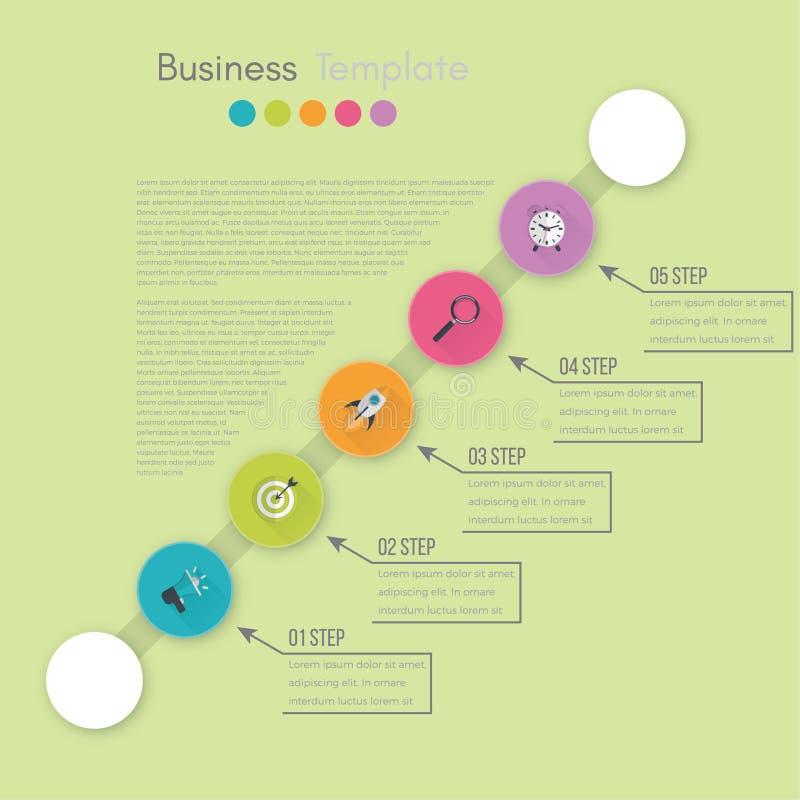 Visualizaci?n de los datos de negocio Carta de proceso Elementos abstractos del gr?fico, del diagrama con pasos, de opciones, de  ilustración del vector