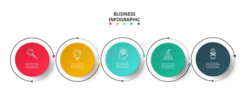 Visualizaci?n de los datos de negocio Carta de proceso Elementos del gr?fico, del diagrama con 5 pasos, de opciones, de piezas o  stock de ilustración