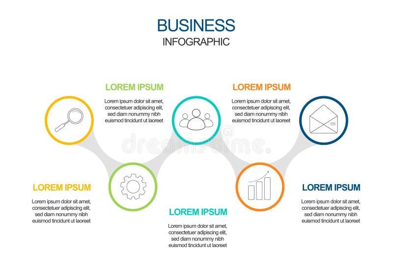 Visualizaci?n de los datos de negocio iconos infographic de la cronolog?a dise?ados para la plantilla abstracta del fondo stock de ilustración