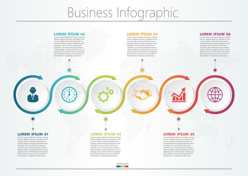Visualizaci?n de los datos de negocio iconos infographic de la cronolog?a dise?ados para la plantilla abstracta del fondo ilustración del vector