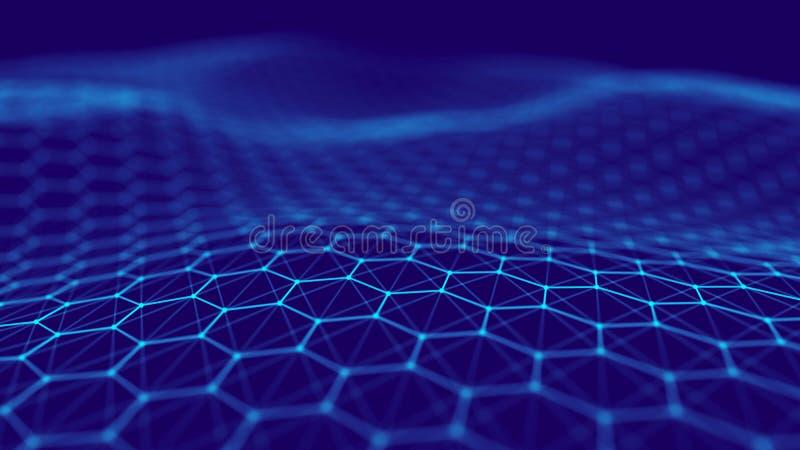 Visualizaci?n grande de los datos Fondo futurista del hex?gono Fondo grande de la tecnolog?a de los datos representaci?n 3d ilustración del vector