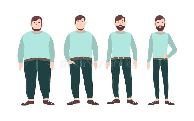Visualization av etapper för viktförlust av det manliga tecknad filmteckenet, från fett som ska bantas Begreppet av kroppen som ä stock illustrationer