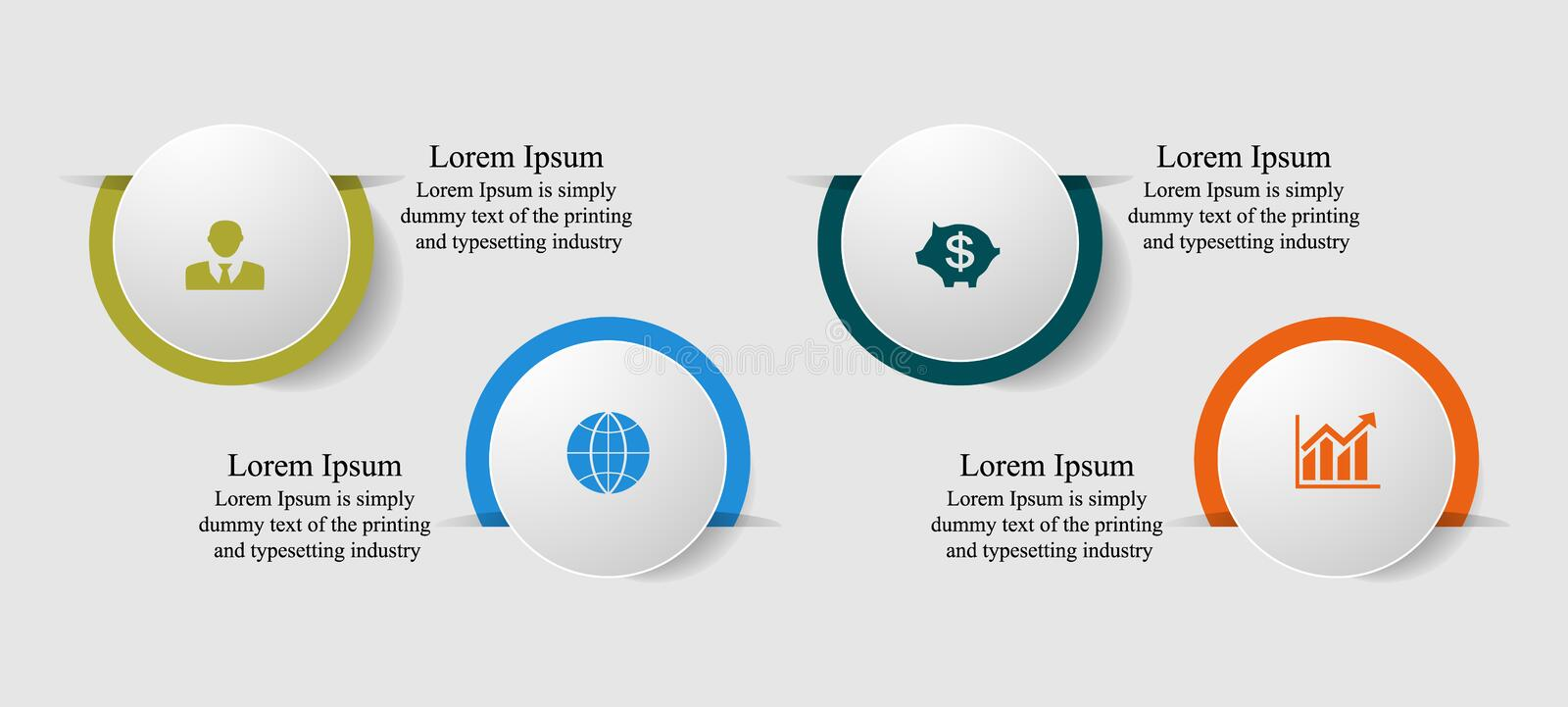Infographics circles cut into four steps with text shadow icons. Visualization of business data, infographics. Scheme of process elements using graphs, diagrams stock illustration