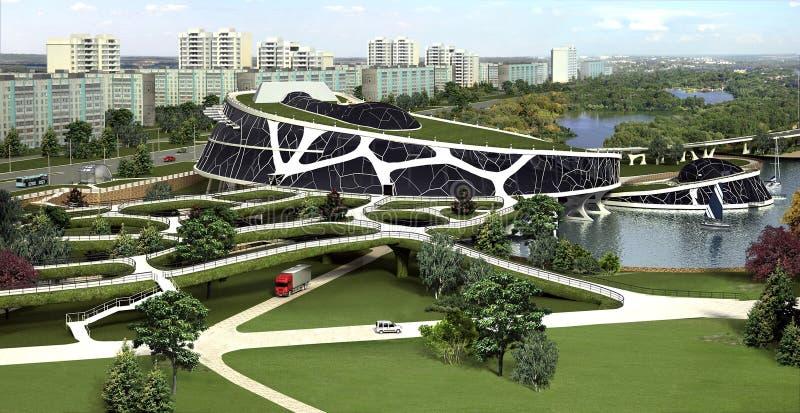 visualization 3D av ecobyggnaden med den bioniska formen och energi-effektiva teknologier. royaltyfri illustrationer