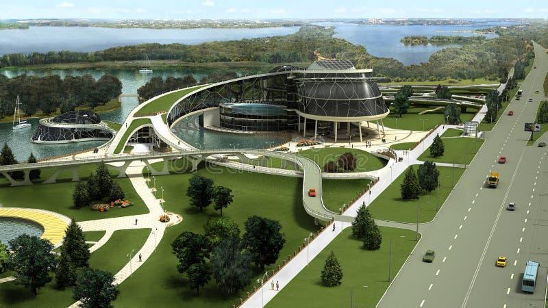 visualization 3D av ecobyggnaden med den bioniska formen och energi-effektiva teknologier. stock illustrationer