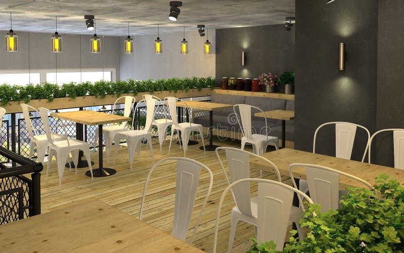 visualization 3d av matlagret med ett kafé inom Offentlig inre i vindstilen royaltyfri illustrationer