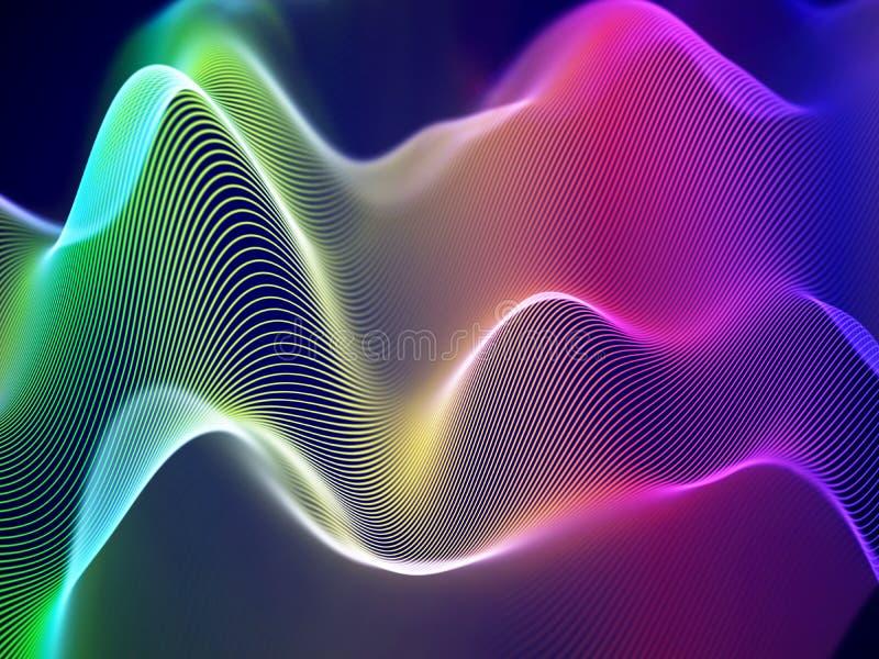 visualization 3D av solida vågor Stort data- eller informationsbegrepp: Flerfärgat diagram vektor illustrationer
