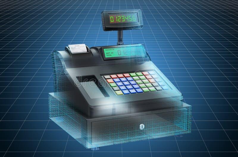 Visualization 3d cad model of cash register. 3D rendering. Visualization 3d cad model of cash register. 3D stock illustration