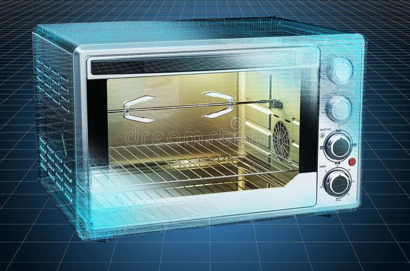 Visualization 3d cad model of Convection Toaster Oven, blueprint. 3D rendering. Visualization 3d cad model of Convection Toaster Oven, blueprint. 3D royalty free illustration