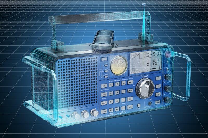 Visualization 3d cad model of digital radio, blueprint. 3D rendering. Visualization 3d cad model of digital radio, blueprint. 3D royalty free illustration