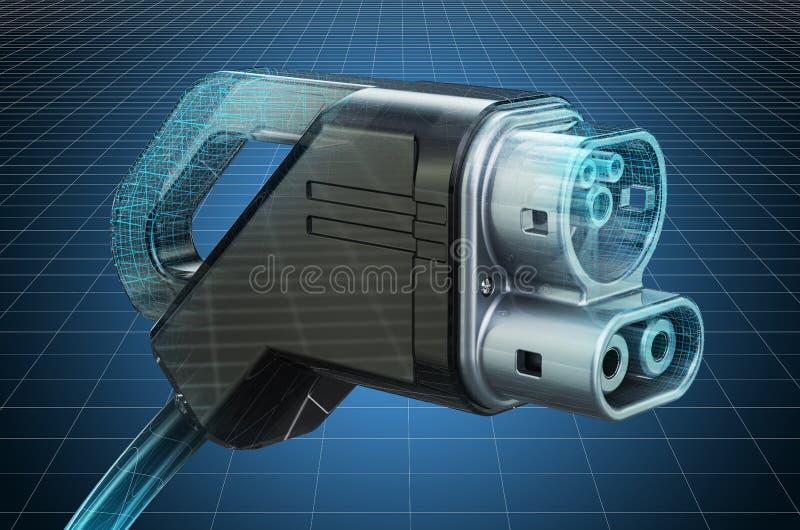 Visualization 3d cad model of Electric Car Charging Plug, blueprint. 3D rendering. Visualization 3d cad model of Electric Car Charging Plug, blueprint. 3D royalty free illustration