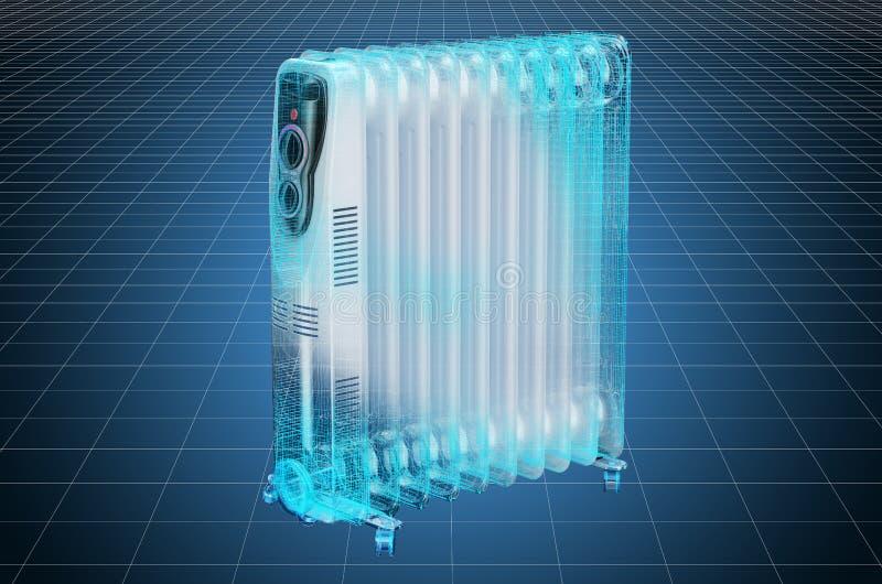 Visualization 3d cad model of electric oil heater, oil-filled radiator, blueprint. 3D rendering. Visualization 3d cad model of electric oil heater, oil-filled royalty free illustration