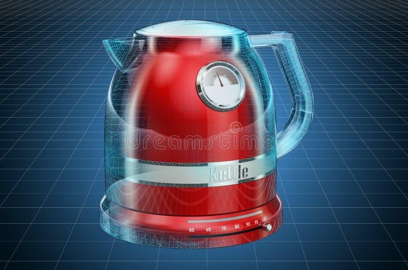 Visualization 3d cad model of electric tea kettle, retro design. 3D rendering. Visualization 3d cad model of electric tea kettle, retro design. 3D vector illustration