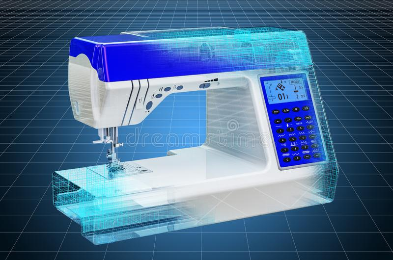Visualization 3d cad model of electronic sewing machine, blueprint. 3D rendering. Visualization 3d cad model of electronic sewing machine, blueprint. 3D stock illustration