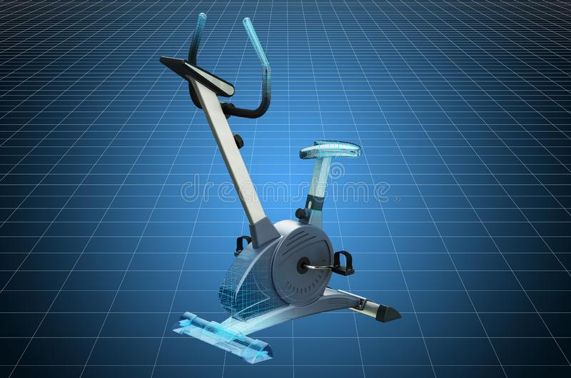Visualization 3d cad model of exercise bike, blueprint. 3D rendering. Visualization 3d cad model of exercise bike, blueprint. 3D vector illustration