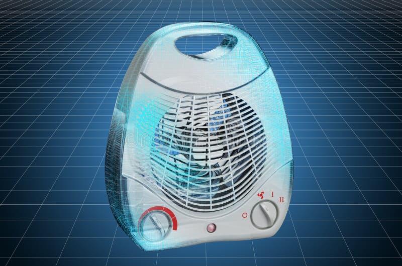 Visualization 3d cad model of fan heater, blueprint. 3D rendering. Visualization 3d cad model of fan heater, blueprint. 3D vector illustration