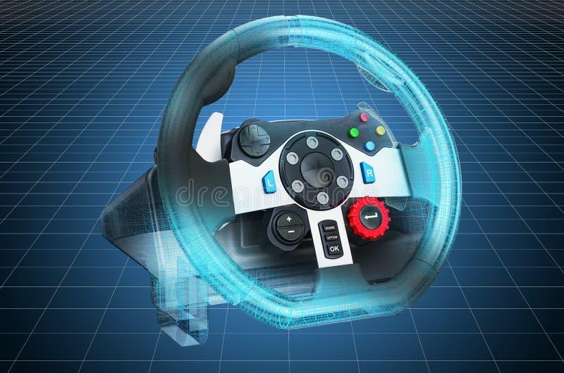 Visualization 3d cad model of gaming steering wheel, blueprint. 3D rendering. Visualization 3d cad model of gaming steering wheel, blueprint. 3D royalty free illustration